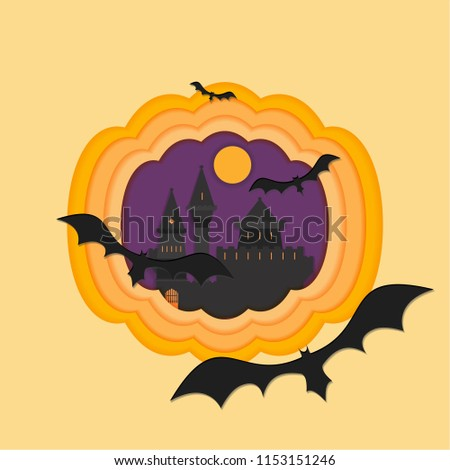 Helloween paper cut vector illustraion with haunted and scary castle full moon helloween cartoon style inside pumpkin