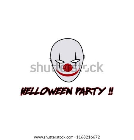 helloween party - evil clown logo template