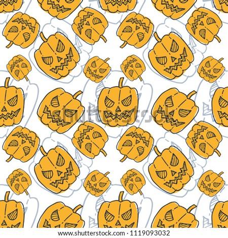 helloween pumpkin icon seamless pattern