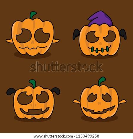 Helloween pumpkins face character set.