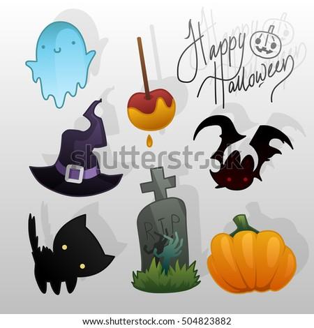 helloween stuff ghost, caramel apple, bat, witch hat, black cat, zombie grave and pumpkin