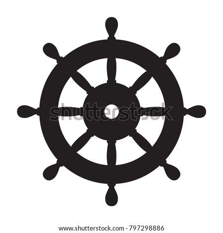 Helm Anchor vector icon logo Nautical maritime sea ocean boat illustration