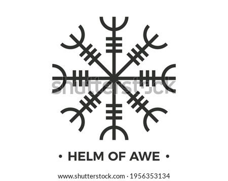 Helm of Awe or Helm of Terror. Norse mythology. Icelandic magical stave. Occult symbol isolated  on white background. Galdrastafir, intertwined runes. Vector illustration Сток-фото ©