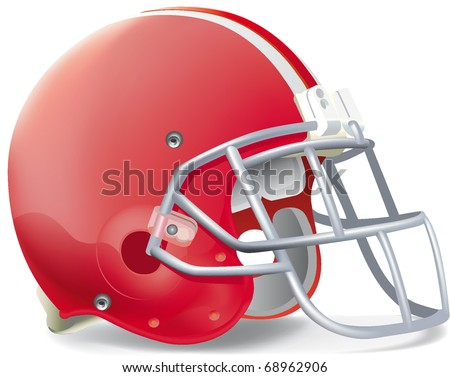 helmet football red withe line