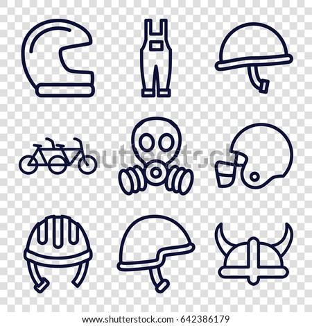helmet icons set set of 9