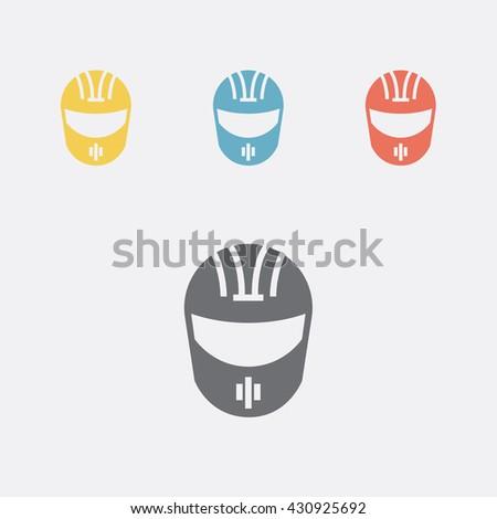 Helmet. Motorcycle helmet, bike helmet, racing helmet, football helmet. Flat icon set. Vector illustration.