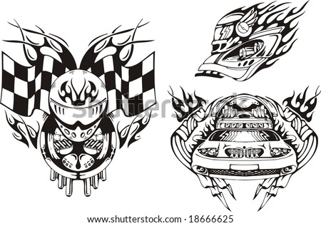 Stock  Auto Racing on Stock Vector   Helmet Of The Racer  Flags And The Car  Racing