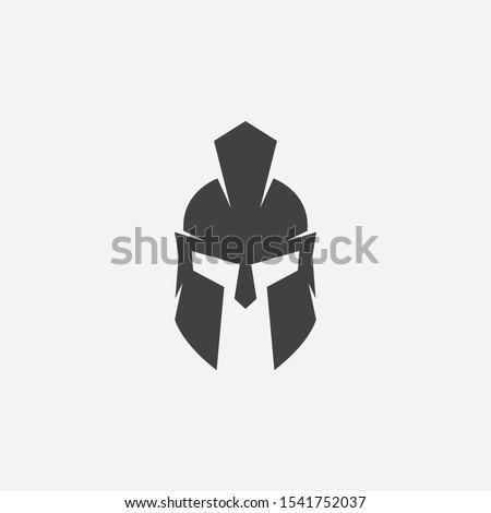 helmet of the Spartan warrior symbol, emblem. Spartan helmet logo, illustration of spartan, Spartan Greek gladiator helmet armor flat vector icon Zdjęcia stock ©