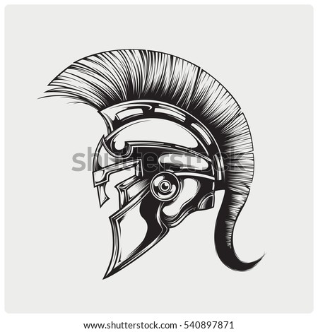 helmet of warriior logo vector