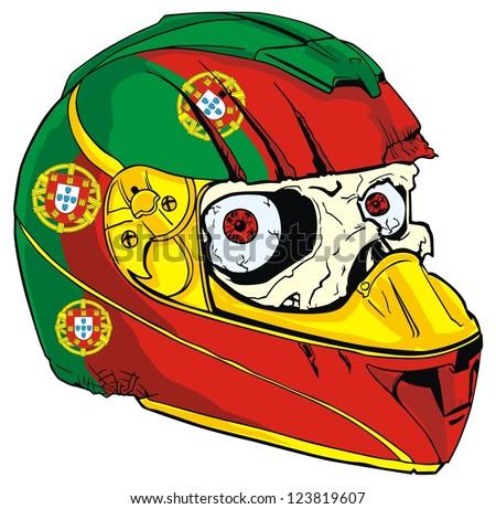 helmet skull and Portugal flag