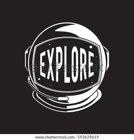 Helmet with explore word graphic design