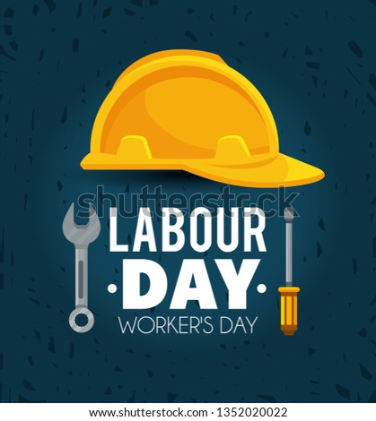 helmet with screwdriver and wrench to labour day