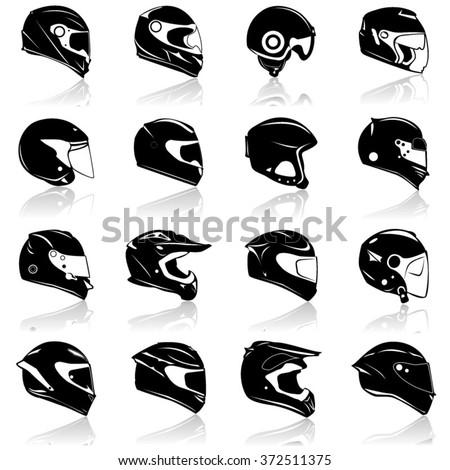 Helmets Icon Set- Illustration