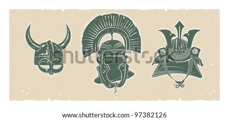 Helmets on parchment, vector