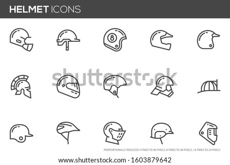 Helmets Vector Line Icons Set. Construction helmet, motorcycle helmet, hard hat. Editable stroke. Perfect pixel icons, such can be scaled to 24, 48, 96 pixels.