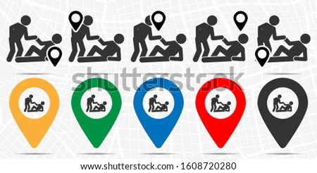 Help a friend, helps to get up icon in location set. Simple glyph, flat illustration element of friendship theme icons