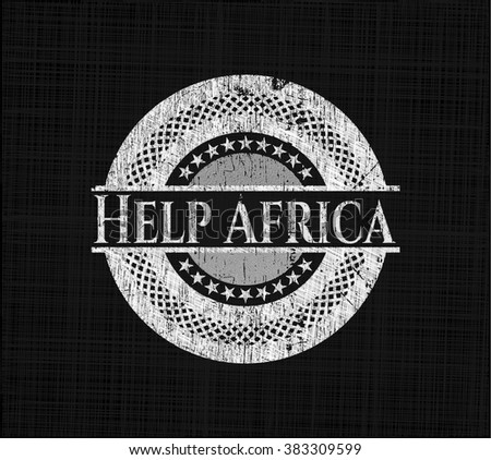 Help Africa chalkboard emblem on black board