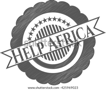 Help Africa emblem with pencil effect