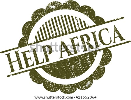 Help Africa rubber stamp with grunge texture