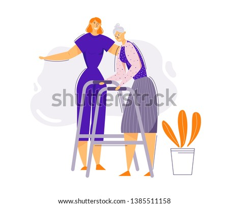 Help and Care Old People Concept. Female Character Helps Elderly Woman to Walk. Senior Patient and Nurse. Pensioner Therapy. Vector flat cartoon illustration