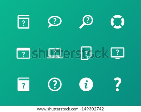 Help and FAQ icons on green background. Vector illustration.