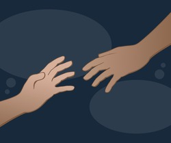 Help and hope concept with hands, benevolence charity illustration, helping hand