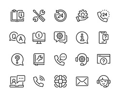 Help and support icon set. Сollection of simple linear web icons, consists of support, online assistant, reference book, etc. Editable vector move. 96x96 Pixel