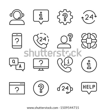 Help and support line icons set vector illustration. Contains such icon as call, chat, customer service, faq, information, lifebuoy, question and more. Editable stroke