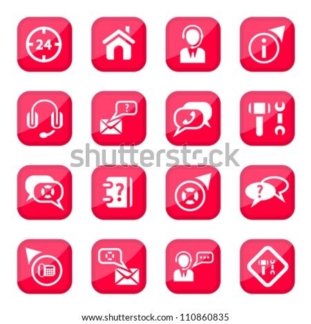 Help and Support Vector Icon Set for web and mobile. All elements are grouped.