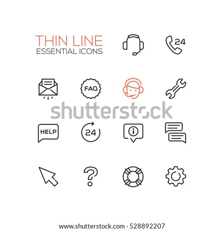 Help Center - modern vector simple thin line design icons set. Headset, phone, twenty four-seven, mail, faq, support, wrench, information, chat, pointer arrow, question mark, lifebuoy cog
