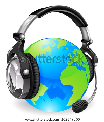 Help desk headset world globe. Concept for online chat or telephone support.