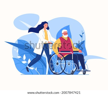Help for elderly. Organization for care of disabled. Compassionate and competent solicitude. Daily nurse. Vector flat cartoon illustration. Сток-фото ©