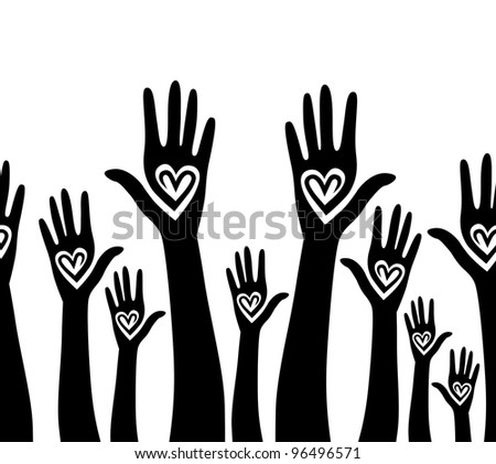 Help hand raised. Social assistance, community pattern. Care concept. Like, heart seamless background. Vector horizontal illustration, people silhouette, solidarity crowd. - stock vector