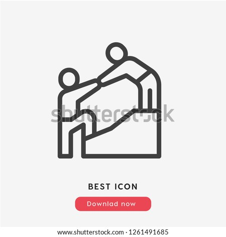 Help icon vector. Leader symbol. Helping hands icon vector. Linear style sign for mobile concept and web design. Help symbol logo illustration. vector graphics - Vector.