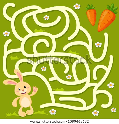 Help little bunny find path to carrot. Labyrinth. Maze game for kids