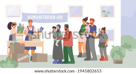 Help poor family composition with outdoor scenery and group of volunteers giving humanitarian aid to needy vector illustration Stock photo ©