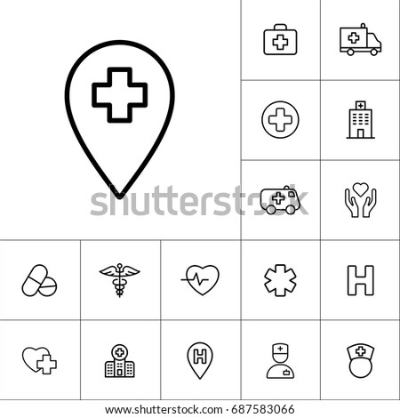 help position, medical icons black on white background