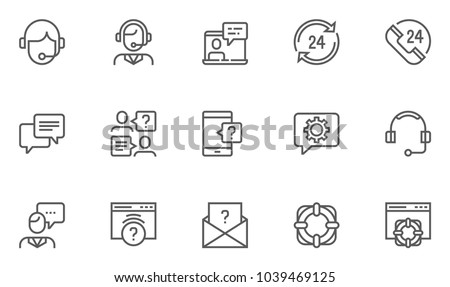 Help, Support and Contact Vector Flat Line Icons Set. Phone Assistant, Online Help, Video Chat. Editable Stroke. 48x48 Pixel Perfect.