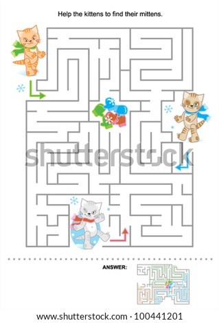 Help the kittens to find their mittens (maze for kids, answer included), for high res JPEG or TIFF see image 100441204