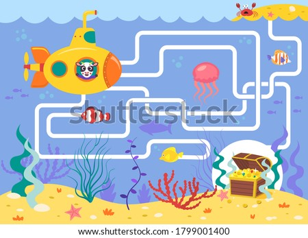 Help the submarine find the right way to the treasure. Color maze or labyrinth game for preschool children. Puzzle. Tangled road. Transport for kids Stock photo ©