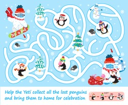Help Yeti collect all the lost penguins. Color maze or labyrinth game for preschool children. Puzzle. Tangled road with key. Cute snow yeti snowboarding. Winter holidays, activities, sport for kids