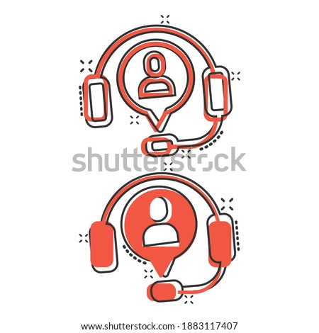 Helpdesk icon in comic style. Headphone cartoon vector illustration on white isolated background. Chat operator splash effect business concept. Stock fotó ©