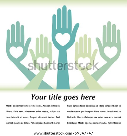 Helpful hands design with text space.