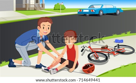 Helping children after a bicycle accident. Caring for kids. First aid with family. Paying attention to people around.