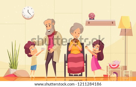 Helping elderly people home flat cartoon composition with grandchildren serving coffee cakes to old grandparents vector illustration
