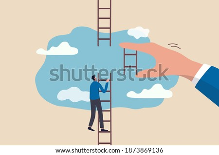 Helping hand, business support to reach career target or help to climb up ladder of success concept, businessman climbing up to top of broken ladder with huge helping hand to connect to reach higher.