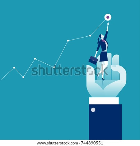 Helping Hand. Businesswoman standing on the hand reaching for the goal. Business concept vector illustration.