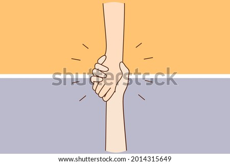 Helping hand, support, assistance concept. Hand of unrecognizable person holding another hand falling down helping supporting vector illustration