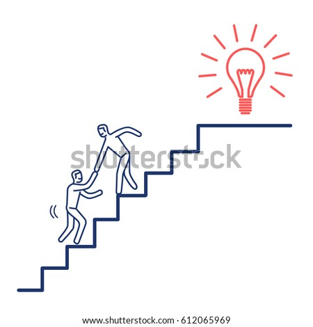 Helping hand to success. Vector business illustration of two businessman's collaborating on stairs to goal   modern flat design linear concept icon and infographic red and blue on white background  Photo stock ©
