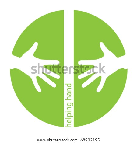 Helping hands green icon with space for text